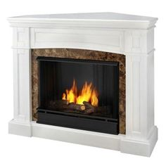 Real Flame Chateau Corner Ventless Gel Fireplace in White - This item is currently on backorder and is expected to be available again near the beginning of January. Please call or e-mail us for more information.The Chateau Corner Fireplace feature Corner Fireplace, Decor, Home, Indoor Fireplace, New Homes, Brick Fireplace, Fireplace, Home Decor Outlet, White Fireplace