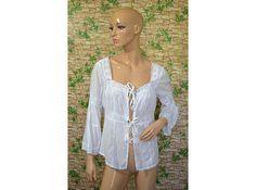Vintage Saint Tropez women top shirt blouse white 100% cotton