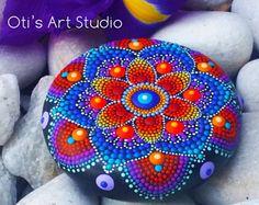 Jewel Mandala Hand-painted by OtisArtStudio Rock Painting Patterns, Dot Art Painting, Rock Painting Designs, Stone Painting, Mandala Art Lesson, Mandala Artwork, Mandala Painting, Mandala Painted Rocks, Mandala Rocks