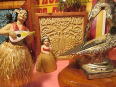 FLAME KOA jewelry box Queen Liliuokalani Hawaiian hula girl trinket wood tile
