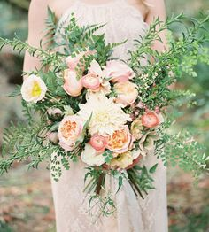 Photo by Alexandra Grace Photography Fall Bouquets, Floral Bouquets, Wedding Bouquets, Wedding Dresses, Pink Wedding Decorations, Pink Centerpieces, Peach Bouquet, Bridal Bouquet Pink, Neutral Wedding Flowers