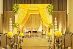 #Mandap | Follow #Professionalimage ~ So yellow, and so elegant! Great idea for a cheerful mandap. #indian