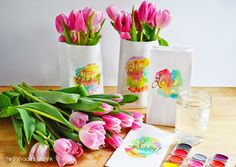 Water Color Paper Bags as Flower Favors