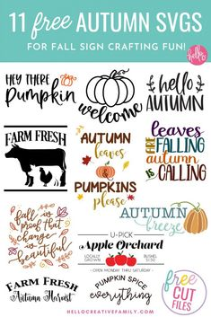Decorate in fall hygge style with 11 free fall sign cut files including a Welcome Pumpkin SVG that is perfect for making doormats with! Design beautiful DIY autumn home decor using your Cricut or other electronic cutting machine! Creative Pumpkins, Hygge Life, Weekend Crafts, Pretty Hands, Leap Of Faith, Fall Signs, Going Back To School, Hello Autumn, Fall Diy