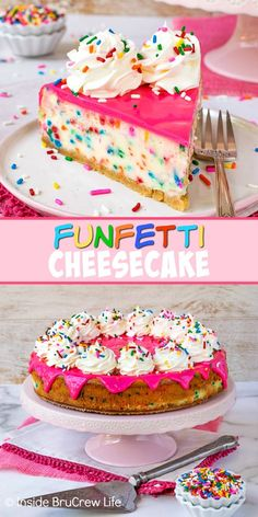 Funfetti Cheesecake Recipe Funfetti Cheesecake – adding lots of sprinkles and a hot pink white chocolate glaze to this cake batter cheesecake makes it so pretty and so delicious. Great recipe to make for every celebrations. Hot Fudge Cake, Hot Chocolate Fudge, Chocolate Glaze, Homemade Chocolate, White Chocolate, Homemade Snickers, Funfetti Cheesecake Recipe, Cake Batter Cheesecake, Funfetti Cake
