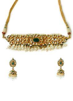 Mehtaphor Green N Gold Polki Necklace Set