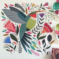 68 Ideas Love Bird Illustration Drawings For 2019 Art And Illustration, Illustrations And Posters, Hummingbird Illustration, Scandinavian Folk Art, Scandinavian Pattern, Guache, Bird Art, Pattern Art, Watercolor Art