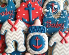 Nautical Ahoy Anchor Baby Shower Cookies von DolceCustomCookies