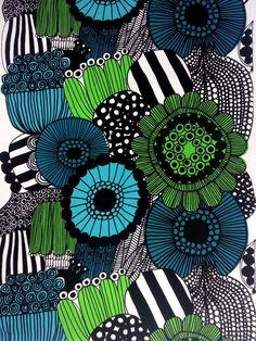Another Marimekko pattern - I LOVE them ALL! Siirtolapuutarha cotton fabric by Marimekko Art Design, Textile Design, Fabric Design, Textures Patterns, Fabric Patterns, Print Patterns, Floral Patterns, Marimekko Fabric, Marimekko Wallpaper
