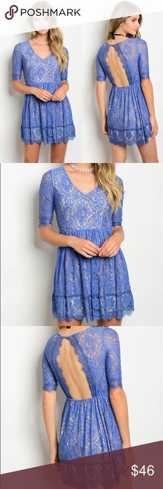 🆕 Blue Tan Dress Stunning lace detail 😍 Lined except for the sleeves. 90% nylon 10% Polyester. No trades. Kyoot Klothing Dresses
