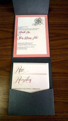 Coral Peony Wedding Invitation Suite - elegant little charcoal gray and coral invitation suite.