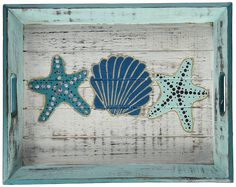"""Bring vintage Seaside style into your home with DEI hand-carved wood shell tray from Bali! this versatile weathered 11.5"""" x 15"""" tray can be used as a decorative accent."""