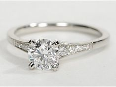 Petite Milgrain Diamond Engagement Ring in Platinum (.10 ct. tw.) dear future husband, this is the one i want!:) Love, your future wife #beautifulweddingrings