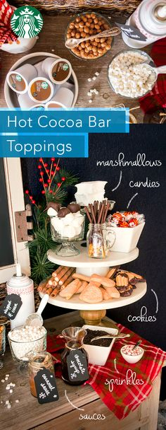 Give guests a host of options for creating their perfect cup of hot cocoa. Gather an assortment of crushed candies, nuts, peppermint sticks and make sure to look for our recipes for homemade marshmallows, dipped spoons and chocolate dipped marshmallows. Christmas Entertaining, Christmas Brunch, Noel Christmas, Christmas Treats, Holiday Treats, Holiday Parties, Holiday Recipes, Xmas, Hot Chocolate Bars