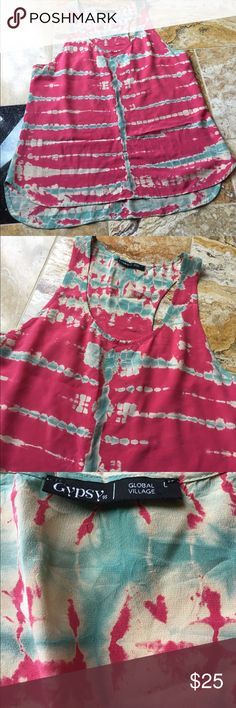 Gypsy 05 pink-red/aqua/cream combo in tie-dye silk 100% silk tie-dye racerback tank. Strong centerline is very slimming both in the front and on the sides. The colors are exquisite not bright bright, subtly muted. But still vibrant enough to draw attention. Gypsy 05 Tops Tank Tops
