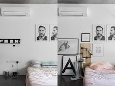 http://bloggersboyfriend.com  Bedroom before and after. Tom Hardy Poster, pink linen, Scandinavian style Interior Inspirations. Warehouse Industrial men's house bedroom Kate and Kate Australian bedding designer. Label.