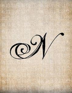 Antique Letter N Script Monogram Digital by AntiqueGraphique
