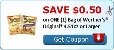 Rare! $0.50 off One Bag of Werther's Original 4.51oz or Larger