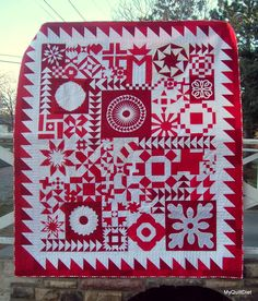 My Quilt Diet...: Red & White Modern Block Swap FINISHED Quilt Beautiful quilt by Stacy Simmons