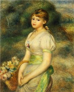 Young Girl with a Basket of Flowers - Pierre-Auguste Renoir