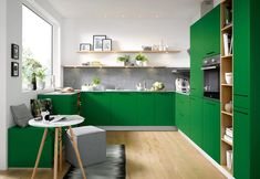 Schüller Biella Moss Green - Showcase Kitchens Brighton & Hove Various colours available Green Kitchen Island, Green Kitchen Cabinets, Kitchen Cabinet Design, Kitchen Colors, White Cabinets, Home Decor Kitchen, Kitchen Interior, Kitchen Ideas, Green Interior Design