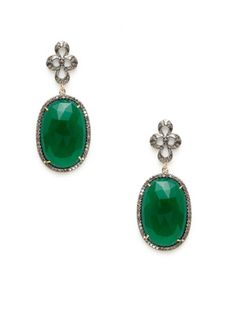 Karma Jewels Diamond Floral & Green Onyx Oval Earrings Pinned by divandisguise.com