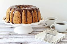 Banana Bundt Cake with Chocolate Ganache by @Jamie {My Baking Addiction}