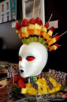 punk rock, birthday parties, bottl pop, fruit kabobs, rock parti, bottles, fruit displays, rocks, pop parti