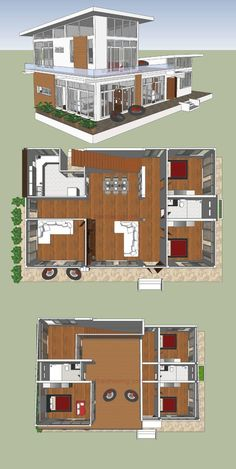 What an Amazing Modern Double-Storey House Design - Ulric Home Sims 4 House Design, Duplex House Design, Sims House, Dream Home Design, Two Storey House Plans, Double Storey House, Apartment Plans, Apartment Design, Sims Building