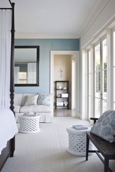 Neutral & Blue Bedroom | Thomas Hamel + Ceiling Heights