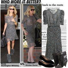 Who Wore It Better Rosie Huntington-Whiteley or Kirsten Dunst in H&M Silk dress