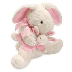 """Mamma and Baby Bunny by North American Bear - 6255  Favorite nursery friend is approx 12"""", made of lush plush with embroidered facial features and silky satin bow. Mamma cuddles removable velour baby crinkle temporarily tacked in place. Look for coordinating rattle sold separately. Machine wash. Baby safe."""