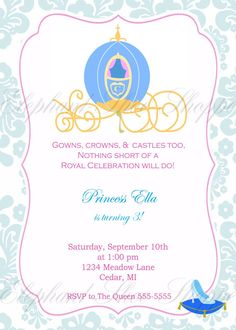 Cinderella Birthday Invitation A Royal InvitationCustomize It