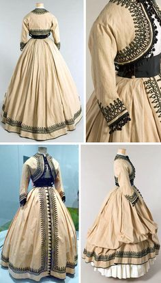 Day dress ca. 1867. Ecru toile trimmed with black soutache and passementerie. Musée Galliera and Temps d'Elegance blog