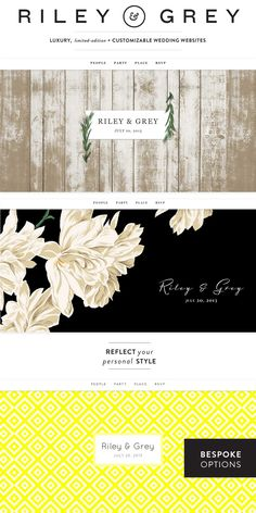 Riley & Grey Customizable Wedding Websites  Read more - http://www.stylemepretty.com/2013/08/03/riley-grey/