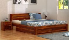 Buy Wooden Queen Size Cots Online in India at best price. Select solid wood queen size cot with storage, without storage or shop customized queen size cot @ Wooden Street. Cot With Storage, Wooden Bed With Storage, Single Beds With Storage, Storage Bed Queen, Bed Storage, Buy King Size Bed, Wooden King Size Bed, Wooden Double Bed, Double Beds