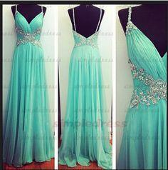 long prom dresses, elegant prom dress, spaghetti straps prom dresses, chiffon prom dress, floor-length bridesmaid dress, evening dresses on Etsy, $142.55 AUD