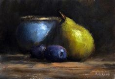 "Daily Paintworks - ""A Pear and two Plums"" - Original Fine Art for Sale - © Pascal Giroud"