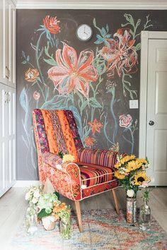 Chalkboard Wall Bedroom, Chalk Wall, Bedroom Wall, Childs Bedroom, Chalkboard Art, Interior And Exterior, Interior Design, Dream Decor, Eclectic Decor