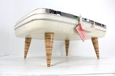 Upcycled White Samsonite Suitcase Pet Bed - Mid Century Handmade Plywood Legs.