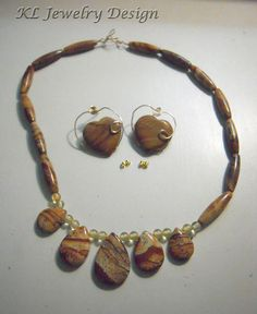 Picture Jasper and Amber Necklace and Earrings by KLJewelryDesign, $28.00