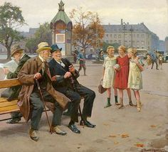 View Gamle Skolekammerater Old schoolmates sitting on a bench at Lille Triangel in Copenhagen by Erik Ludwig Henningsen on artnet. Browse upcoming and past auction lots by Erik Ludwig Henningsen. Classic Paintings, Great Paintings, Lund, Mermaid Sculpture, Victorian London, Scandinavian Art, Ludwig, Traditional Paintings, Landscape Art