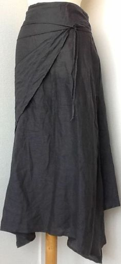 SARAH PACINI GORGEOUS SKIRT 100% LINEN GRAY