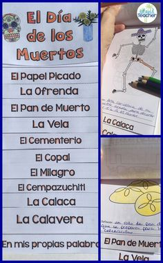 Día de los Muertos flip book. Day of the Dead vocabulary flip book to teach and review words associated with Day of the Dead.
