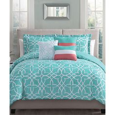 S.L. Home Fashions Aqua & Coral Blythe Six-Piece Comforter Set (58 CAD) ❤ liked on Polyvore featuring home, bed & bath, bedding, comforters, blue green comforter sets, square pillow shams, aqua blue comforter sets, patterned bedding and machine washable comforter