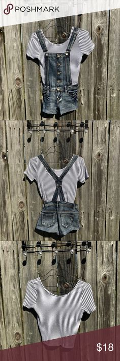 Overalls with crop top BUNDLE. Both items worn only once. Both can layer or match with almost anything. Hollister top is white with navy stripes and overalls are denim. This set is one of my favorite outfits!! Thank you for looking at my item! Hollister Tops