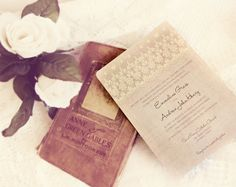SAMPLE - Victorian Elegance and Lace Wedding Invitations - Vintage Elegant Romantic Antique Lace. $5.00, via Etsy.