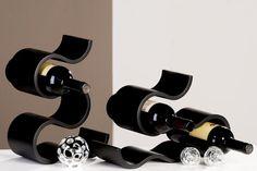"""Porte bouteilles original """"Courbe"""" Couleur noire http://deco-maison-fr.com/article/203/porte-bouteilles-original-courbe-couleur-noire#"""