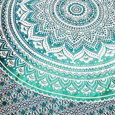 Mandala indien Ombre Boho Bohème blanc vert grand par Bohemiyanauk