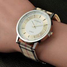 Brand geneva watch women wrist watches Women quartz-watch Plaid Leather designer